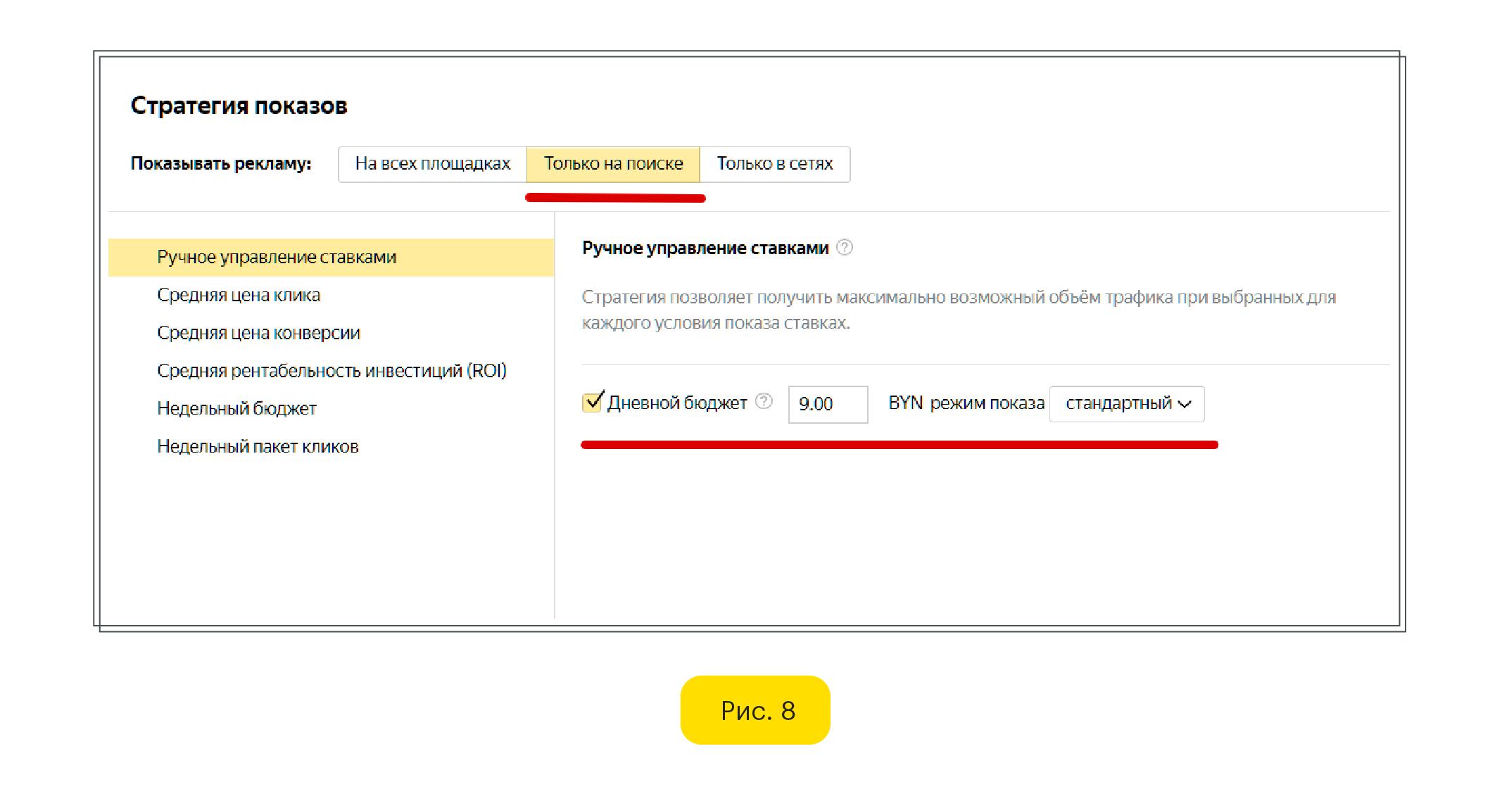 Ручное управление ставками Яндекс Директ